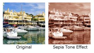 boats sepia tone effect