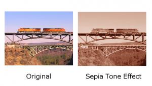 train bridges sepia tone effect